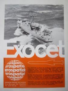 11-1971 PUB AEROSPATIALE MISSILE EXOCET ANTI SHIP MISSILE WARSHIP ORIGINAL AD ZyXSV0Iy-09103401-652856874
