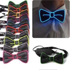Maenner-LED-EL-Draht-Krawatte-Leuchtende-Neon-Blinklicht-Fliege-Fuer-Club-Cosplay