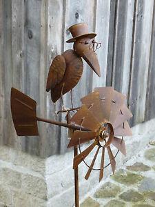 windspiel 213591 windrad kurdi vogel metall garten deko metall edelrost optik ebay. Black Bedroom Furniture Sets. Home Design Ideas