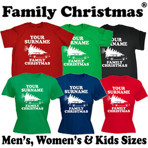Family Christmas Shirts.Personalised Surname Family Christmas T Shirt X Mas Griswold