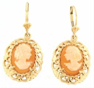 Image Is Loading Detailed Fine Gold Cameo Earrings 14k Yellow