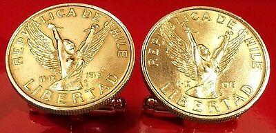 Vintage Desnudo Angel Woman rompiendo las cadenas de Chile de oro de tono latón moneda Mancuernas!