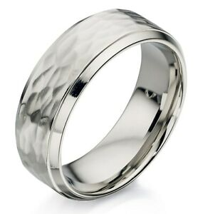 Fred Bennett Brushed & Polished Stainless Steel Industrial Hammered Band Ring