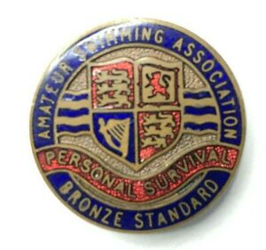 Vintage-Amateur-Swimming-association-Personal-Survival-Bronze-award-enamel-Badge
