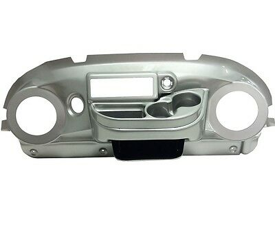 Club Car Precedent Golf Cart Elite Radio Dash Cover in Silver Finish