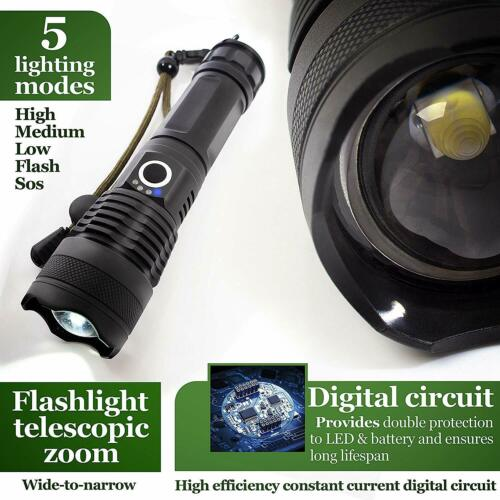 Powerful CREE 900000Lumen XHP50 Zoom Flashlight LED Rechargeable Torch Headlamp