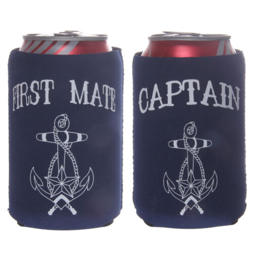 2pcs Set CAPTAIN FIRST MATE Beer Tin Can Cooler Sleeve Holder Party Favor