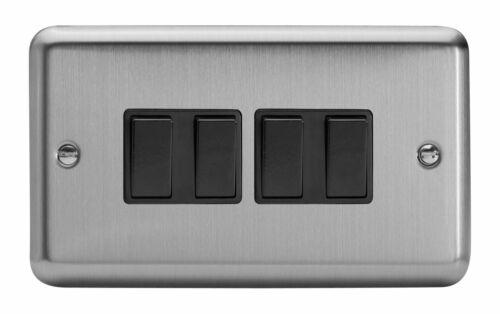 Varilight XS9B Classic Matt Chrome 4 Gang 10 A 1 ou 2 Façon Rocker Interrupteur De Lumière