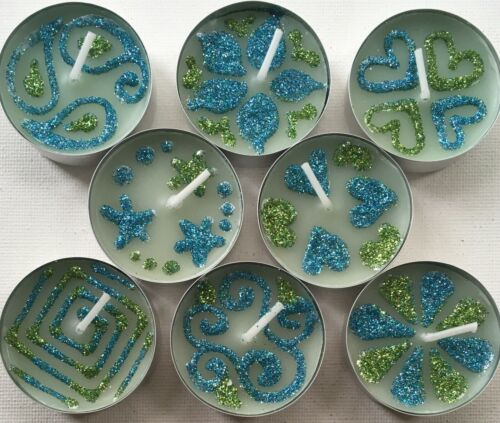 8 Lightly Scented Mixed Designs Blue /& Green Glitter Themed Tea Light Candles.