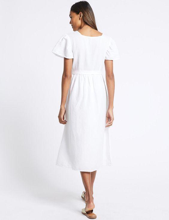 New New New M&S Collection Weiß Linen Blend Embroiderot  Dress Sz UK 6 8 | In hohem Grade geschätzt und weit vertrautes herein und heraus  | Konzentrieren Sie sich auf das Babyleben  fc2757
