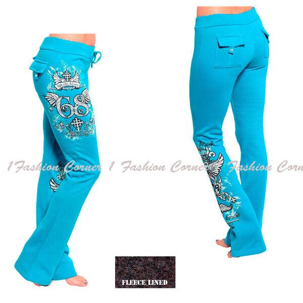 #07 -S M L XL- Blue,Cotton,FLEECE Lined,Tattoo w/Rhinestones,Yoga SweatPants