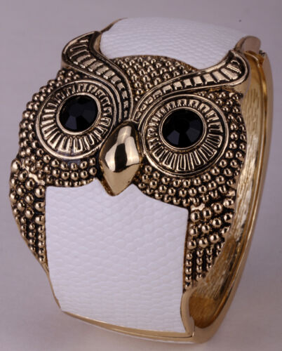 Owl Bracelet Bracelet Cuir Bijoux Cadeaux Femmes son Noir Blanc FT25 Gold Tone