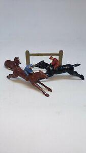 Vintage-Johillco-Toy-Lead-Race-Horse-Derby-Jumping-Pre-War-jockey