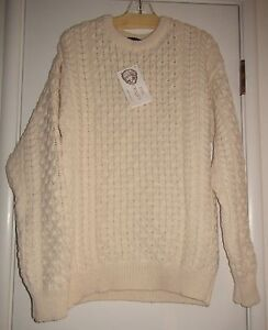 Inis crafts aran pullover 100 wool sweater cream nwt made for Inis crafts ireland sweater