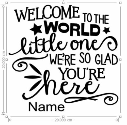 Vinyl Sticker 20x20 cm DIY box frame WELCOME to the WORLD personalise with name
