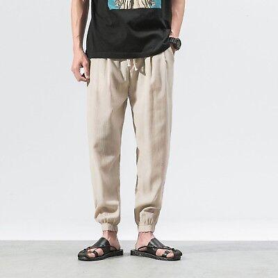 new styles 03323 98f06 uomo pantaloni di lino Cotone Harem larga coulisse Slack MATITA TAGLIE  FORTI   eBay
