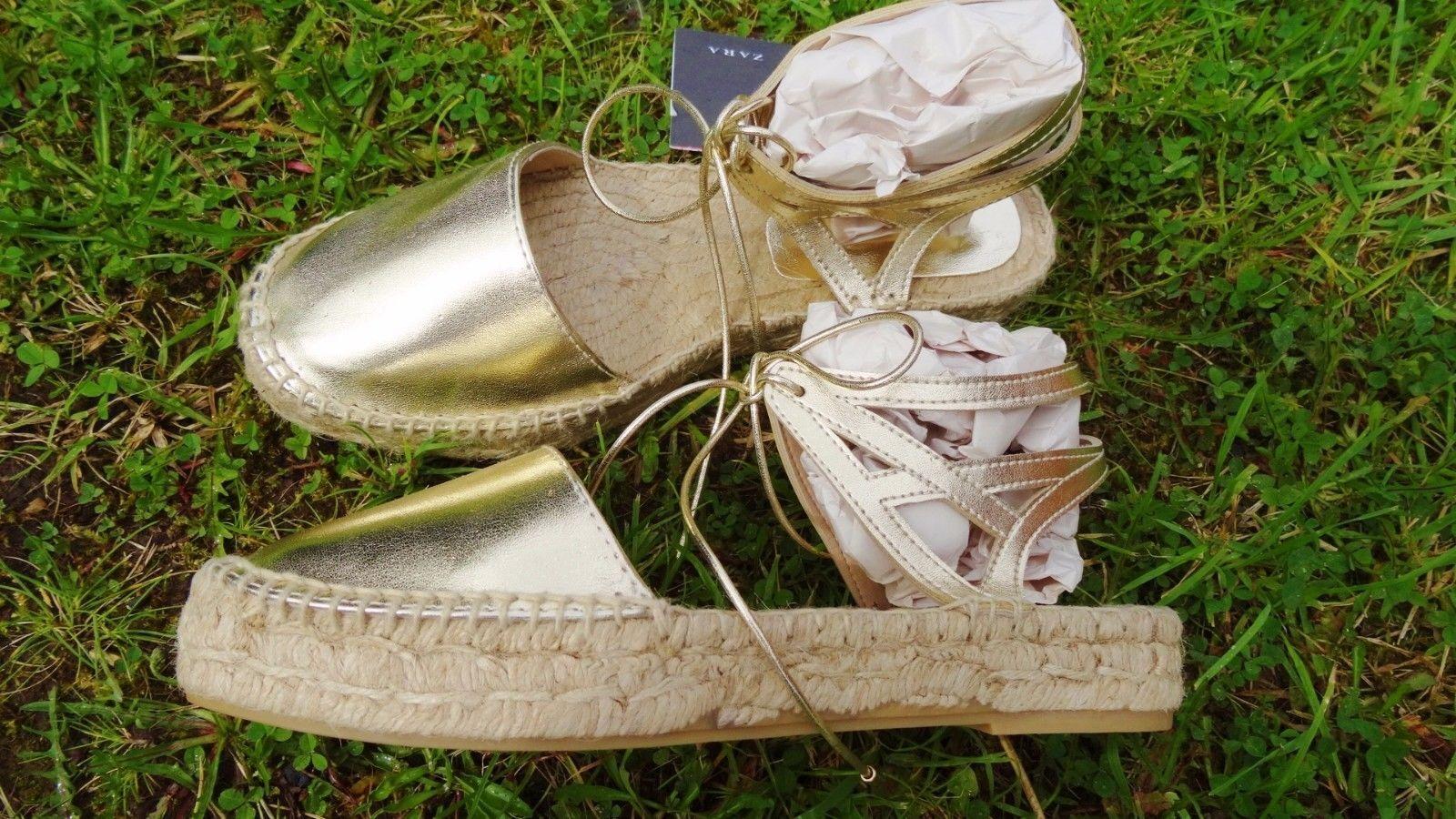 ZARA GOLD LACE 4 UP ESPADRILLES FLAT Schuhe UK 4 LACE 5 6 967d24