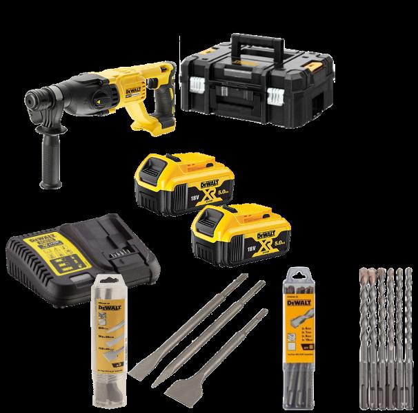 Dewalt SDS-plus Akku-Kombibohrhammer DCH133P2X-DE + DT 60302 + DT 60330