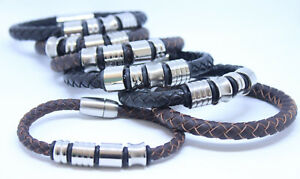 Leather and Stainless Steel Fashion Bracelets