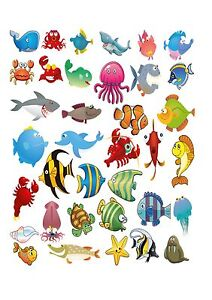 36 Icing Cupcake Cake Toppers Decorations Edible Under The Sea
