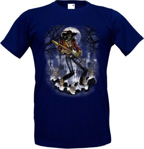 T Shirt Navyblauton Totenkopf Gitarre Musik Tattoo/&Rockmusikmotiv Skull Guitar