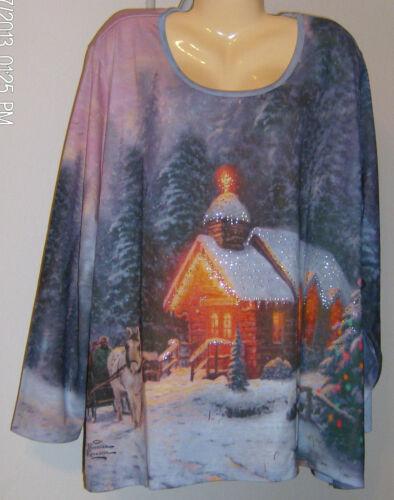 Thomas Kinkade Christmas Chapel Top Liz /& Me NWT Size 4X Limited Edition Washes