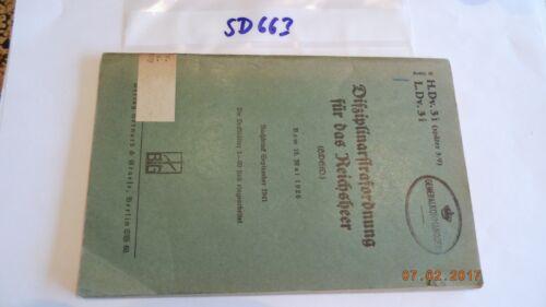 Disziplinarstrafordnung pour le REICHSHEER 1926/41 h.dv.3i l.dv.3i (sd663)