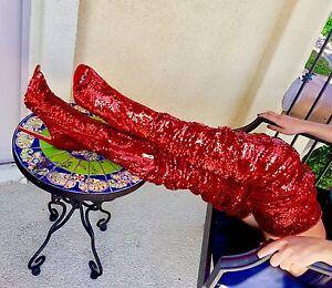 6c8348f77e4c Thigh High Over Knee Sequins Sparkle Open Toe Stiletto Heel Dress ...