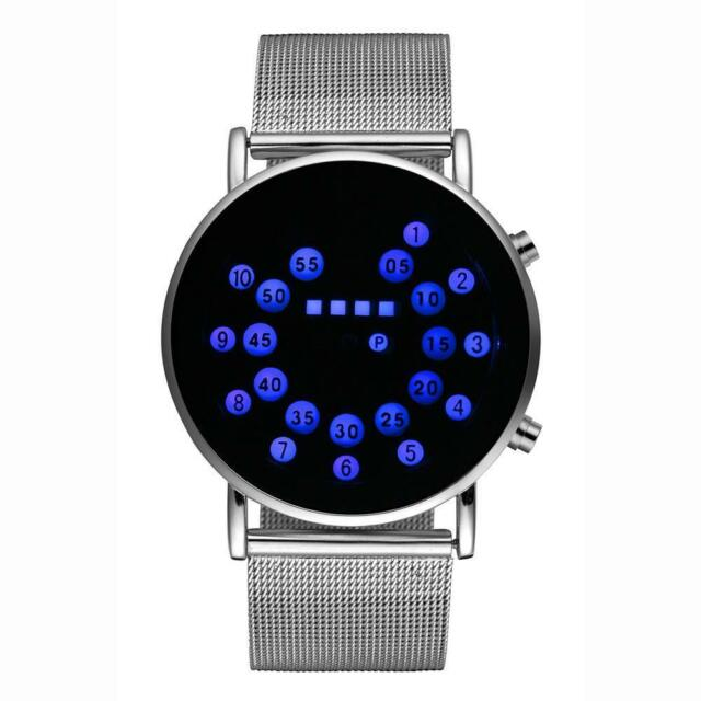 LED Round Mirror Blue Circles MAN Watches Stylish band Stainless Steel Watch BE