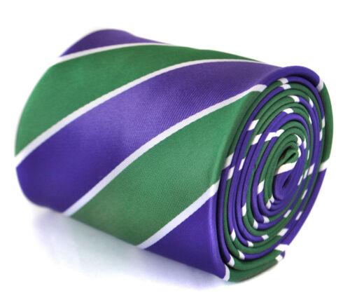 Frederick Thomas Cadbury Violet Vert et Blanc Cravate Rayée Ft2062