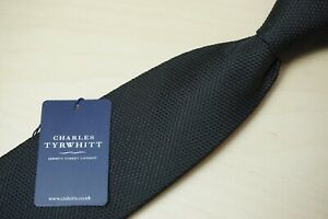 Charles Tyrwhitt Solid Black Classic Plain Tie Woven 100% Silk NEW W TAGS
