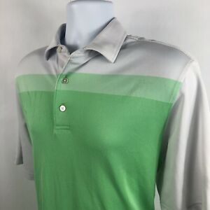 FJ-Footjoy-Men-039-s-Large-L-Polo-Golf-Shirt-Green-White-Striped-Short-Sleeve