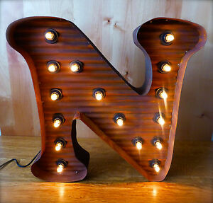 """LG BROWN VINTAGE STYLE LIGHT UP MARQUEE LETTER N, 24"""" TALL novelty metal sign"""