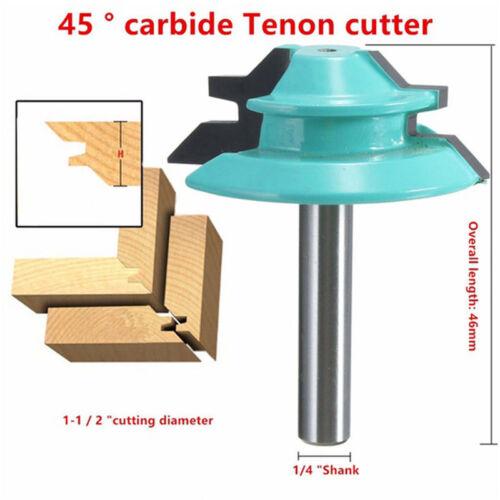 """45 Degré 1//4/"""" tige 1-1//2/"""" Lock claveaux Routeur Bits Menuiserie Tenon Cutter Tools"""