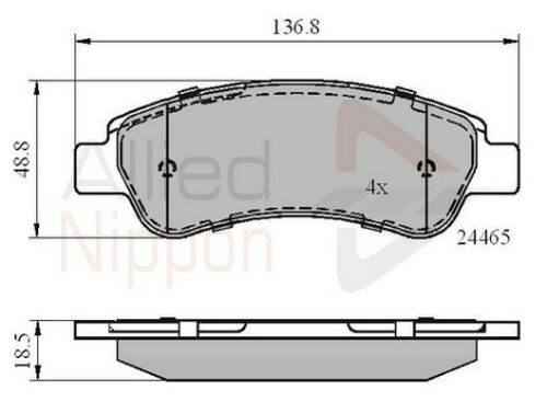 Allied Nippon Rear Brake Pad Set Fits Citroën Fiat Peugeot WPV839