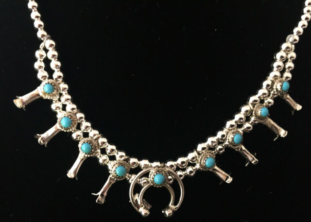 Larry Curley Navajo Sterling Silver & Turquoise Squash Blossom Necklace