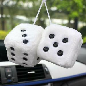 2 Premium Large Fuzzy Plush Red Rearview Mirror Hang Dice for Car-Truck-Auto