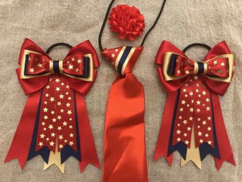 showtie bows In RED Navy /& GOLD Stars Buttonhole childs equestrian showing set