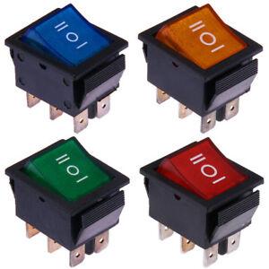 Wippschalter-12V-und-230V-Ein-Aus-Ein-Rot-Blau-Grun-Gelb-Beleuchtet-Kippschalter