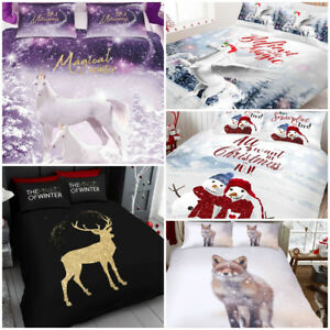 New Christmas Duvet Cover Pillow Case Quilt Cover Unicorn
