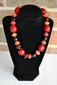 Chunky-Boho-Necklace-Large-Round-Beads-Red-Orange-Brown-Gold-Tone-Lobster-Clasp