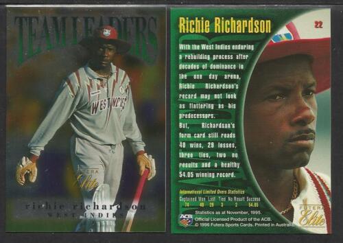 FUTERA 1996 CRICKET ELITE RICHIE RICHARDSON TEAM LEADER CARD No 22
