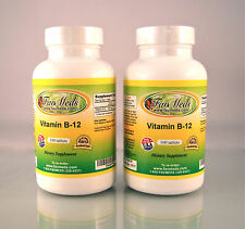 Vitamin B-12, B12, cobalamins, anemia, heart - 200 (2x100) tablets. Made in USA.