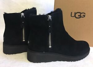 Image is loading UGG-Australia-SHALA-Black-SUEDE-SHEEPSKIN-WEDGE-ZIP-