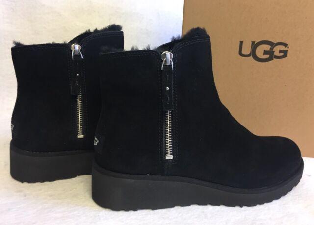 3384c9b5d29 UGG Australia SHALA Black SUEDE SHEEPSKIN WEDGE ZIP ANKLE BOOTS sizes  1018653