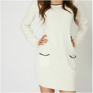 84131476686 Details about Womens Cream New Jumper Dress Crew Knit Neck Pockets Long  Sleeve Tunic 10-12 L