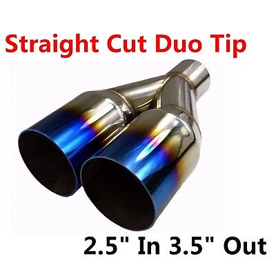 "2.5/"" In 3.5/"" Out Blue Burnt Exhaust Single Layer Tip Polished Stainless Steel"