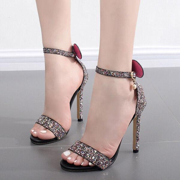 Sandalen Elegant Absatz Stilett 11 cm lilat Strass Leder Kunststoff 9832