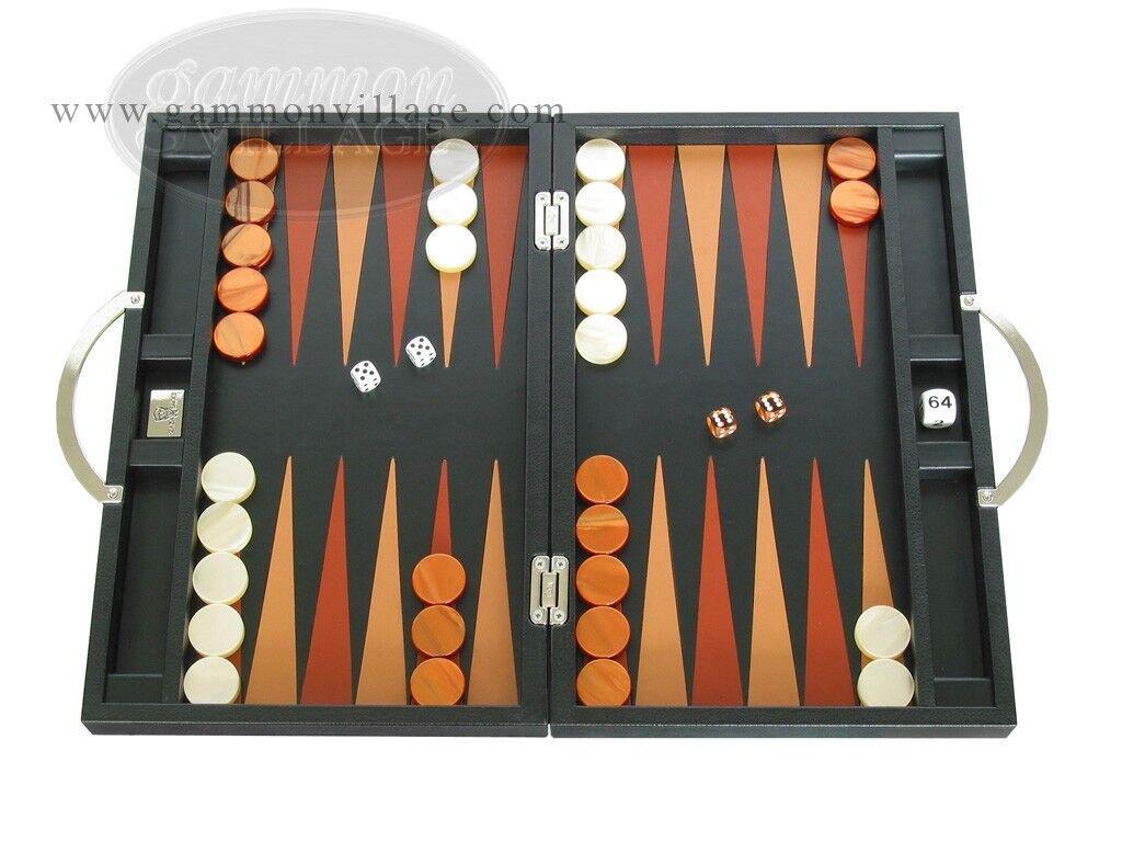 Zaza & Sacci Cuero Backgammon Set-viajes-Tablero Negro