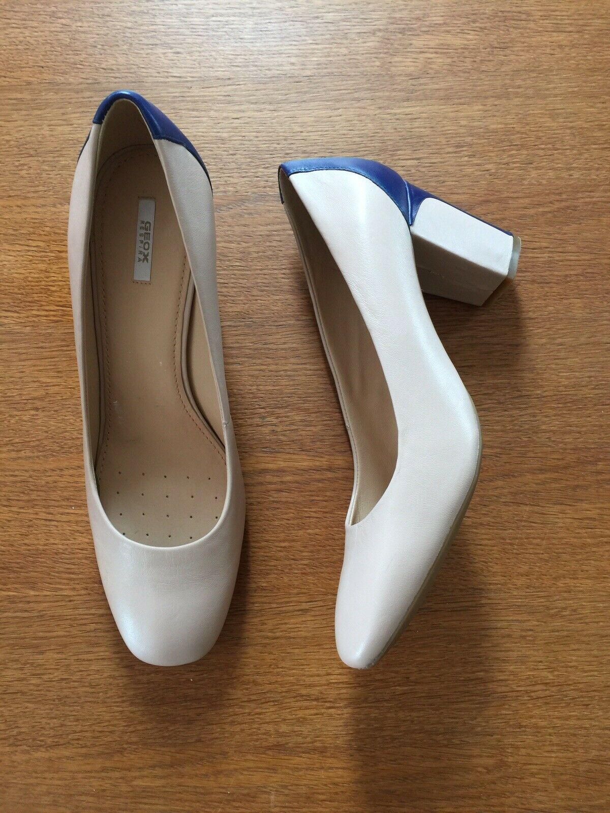 GEOX Ladies Nude Royal bluee Leather Block Respira Square Toe Heels shoes UK7 New